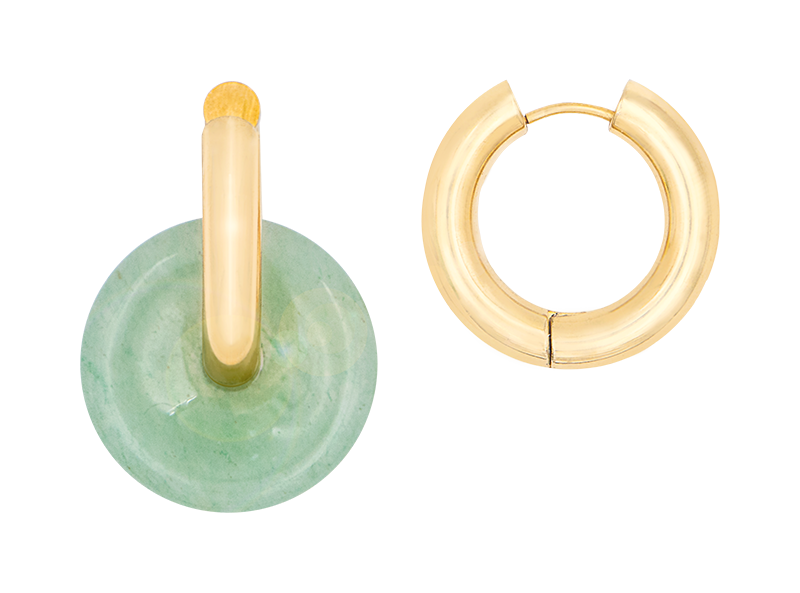 Jade donut earring by Timeless Pearly