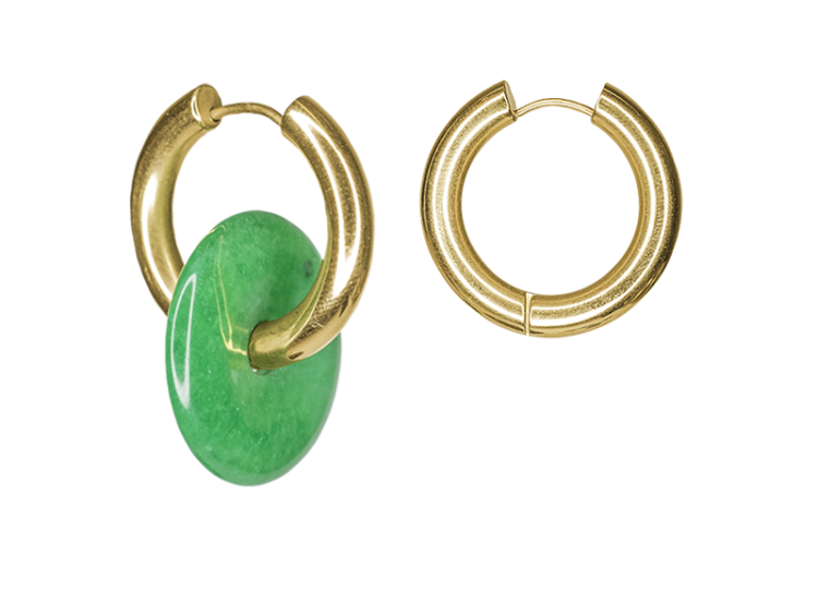 Green donut earring by Timeless Pearly