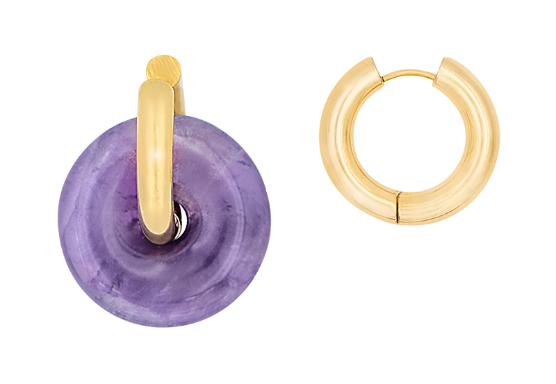 Purple donut earring by Timeless Pearly