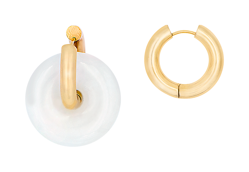White donut earring by Timeless Pearly